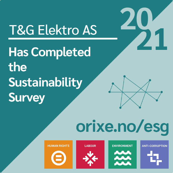 Image that declares that T&G Elektro has completed Orixe's sustainability Survey